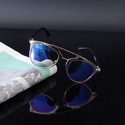 Reflected Sunglasses Metal Frame Retro Vintage Cat Eye