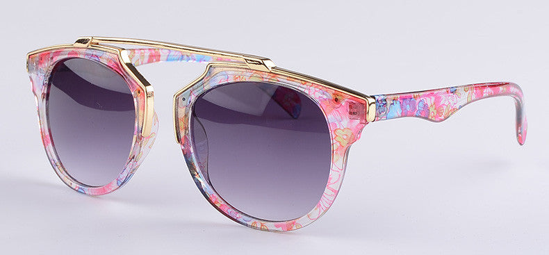 Pink Floral Aviator Sunglasses