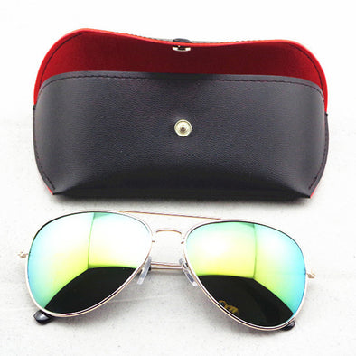 Eyewear Soft Pack Snaps Sunglasses Case PU Leather Black - Hippie BLiss