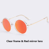 Round Style Women Sun glasses Transparent Candy Color