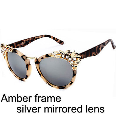 Aviator Wayfarer Sunglasses With Flower Jewel - Hippie BLiss
