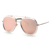 Rose Gold Retro Brand Alloy Frame Oval Sunglasses
