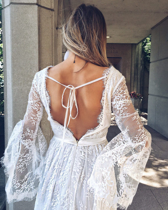 Bell Sleeves Bohemian Lace Wedding Dress - Hippie BLiss