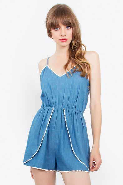 Chambray PomPom Romper - Hippie BLiss