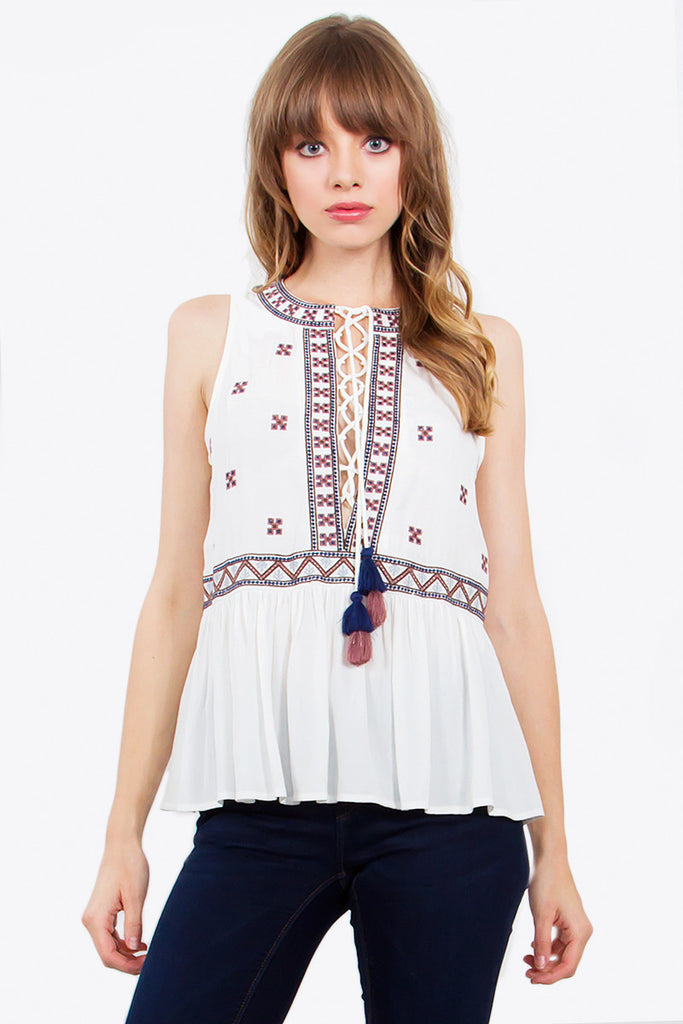 Bohemian Crochet Top Boho Chic Top Lace Up Tassel Top - Hippie BLiss