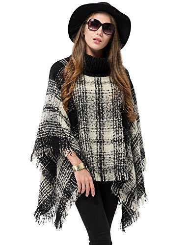 Women's Turtleneck Poncho Sweater Knitted Pullover Capes Tassel Shawl Plaid - Hippie BLiss