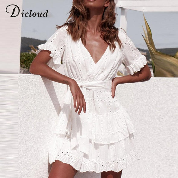 Boho White Summer Wrap Dress - Hippie BLiss