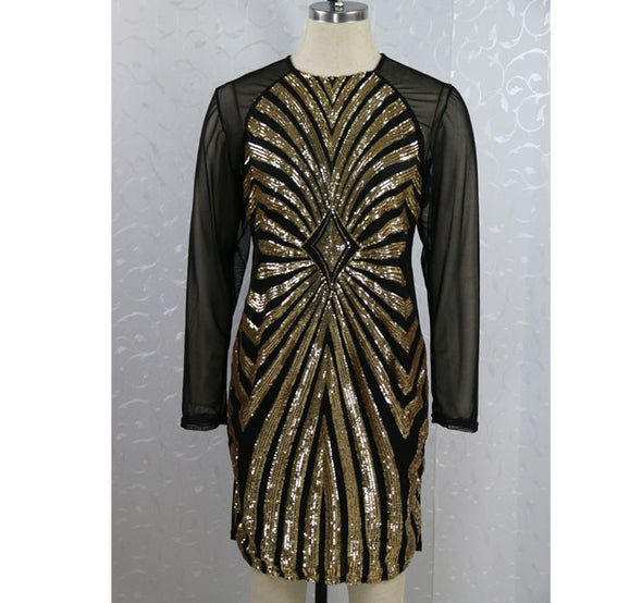 Plus size Sequined Dress Sexy Long Sleeve Mesh Patchwork Pencil Midi Dress Sexy Club Night