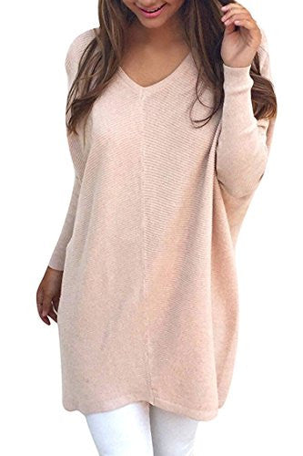 Women's V-neck Knit Dolman Sleeve Pullover Sweater Oversize