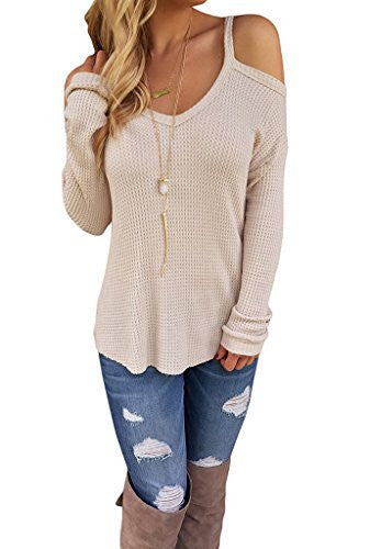 Akery Women Sexy Off The Shoulder Tops Knitted Blouses Sweater - Hippie BLiss