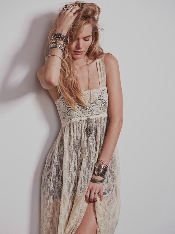 Boho Wedding Night Boho Intimate Sheer Floral Lace Maxi Dress - Hippie BLiss