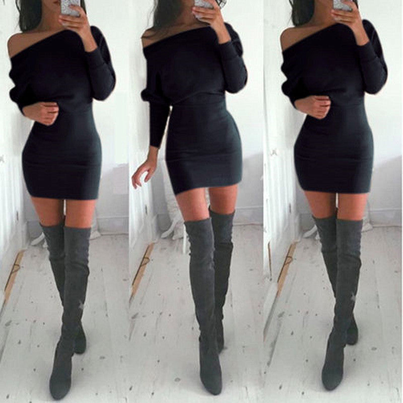 Tunic Winter Dress Women Casual Batwing Sleeve Party Dresses