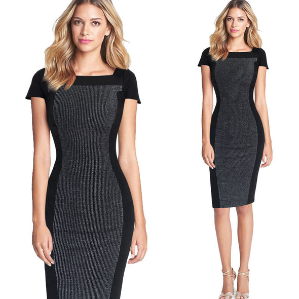 Optical Illusion Contrast Square Neck Cap Sleeve Work Office Fitted Stretch Bodycon Dress