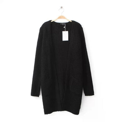 Black Double Pockets Long Casual Sweater Cardigan - Hippie BLiss