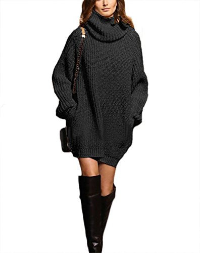 318701b7459af Autumn Womens Cowl Neck Long Sleeve Knit Baggy Pullover Sweater Oversize  Sweater Dress