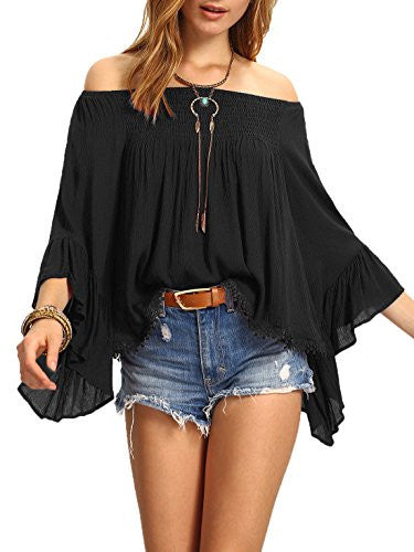 SheIn Women's Off the Shoulder Bell Ruffle Sleeve Top Blouse - Hippie BLiss