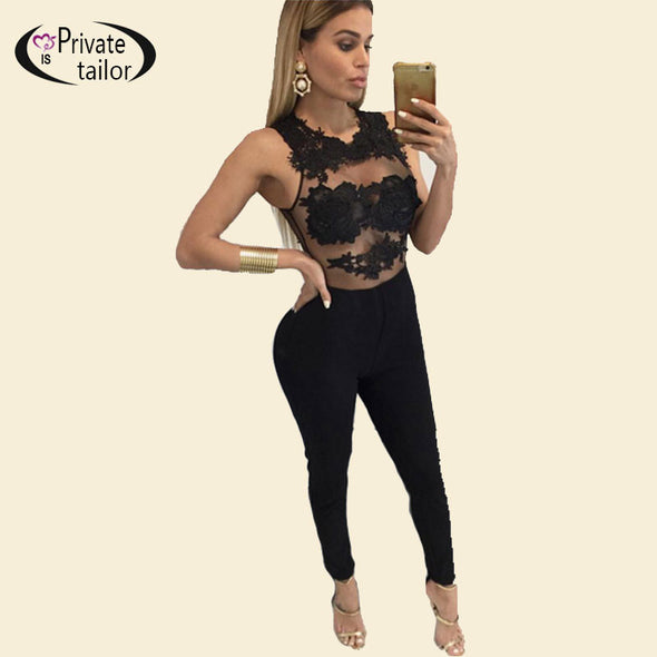 Black Lace Bodysuit Women Mesh Embroidery Jumpsuit Club Wear - Hippie BLiss