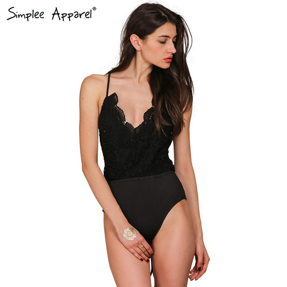 Black lace up backless sexy bodysuit - Hippie BLiss