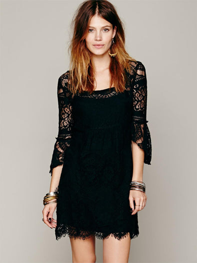 Boho - Chic Bohemian Lace Date Dresses Crochet Mini Swing Dress - Hippie BLiss