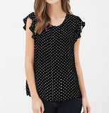 Black and White Polka Dot Blouse Ruffle Sleeves - Summer Top - Hippie BLiss