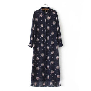 Floral Print Mid-Calf Blouse Dress Long Sleeve Turn-Down Collar Side Open Casual - Hippie BLiss