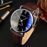 Men Roman Numerals Blu-Ray Faux Leather Band