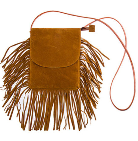 PU Leather Tassel Messenger Bag Vintage Casual Boho Crossbody Bag