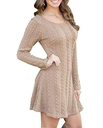 Women's Crewneck Knitted Long Sleeve Sweater Dress Boho Sweater Dress