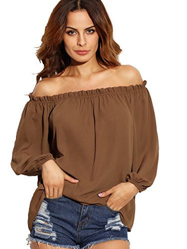 SheIn Women's Off The Shoulder Long Sleeve loose Top Blouse