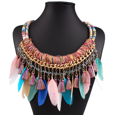 Boho Maxi Feather Necklace Boho Choker - Hippie BLiss
