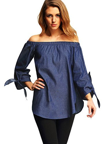 Off The Shoulder Knotted Long Sleeve Loose Blouse, Color - Light Blue