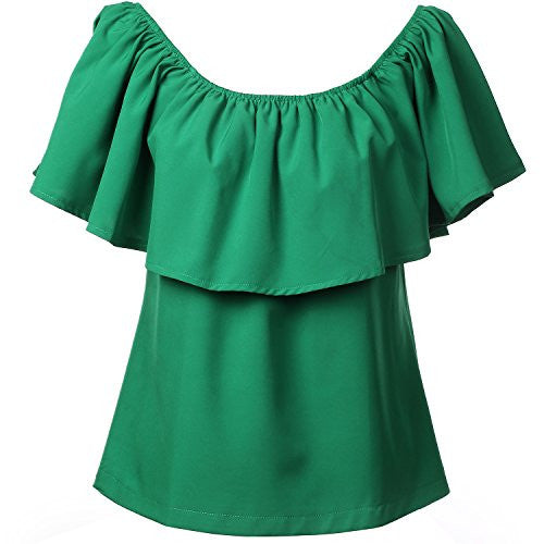 BLDO Women's Ruffles Off Shoulder Solid Chiffon Blouse Crop Top - Hippie BLiss