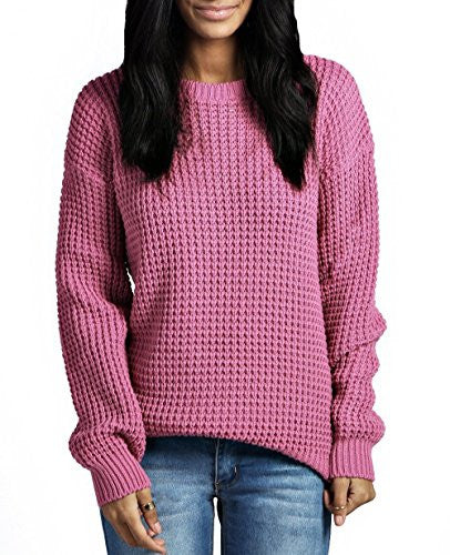 Womens Ladies Oversized Baggy Long Thick Knitted Plain Chunky Top Knit Jumper S-XL