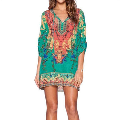 Vintage Ethnic Dress Brand Baroque Style Floral Print Casual Beach Mini Dress