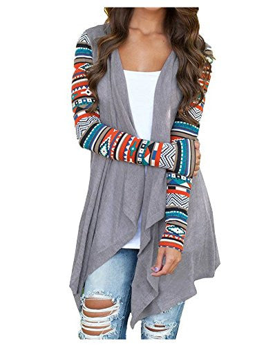 Womens Solid High Low Long Sleeve Boho Open Front Blouses Cardigans