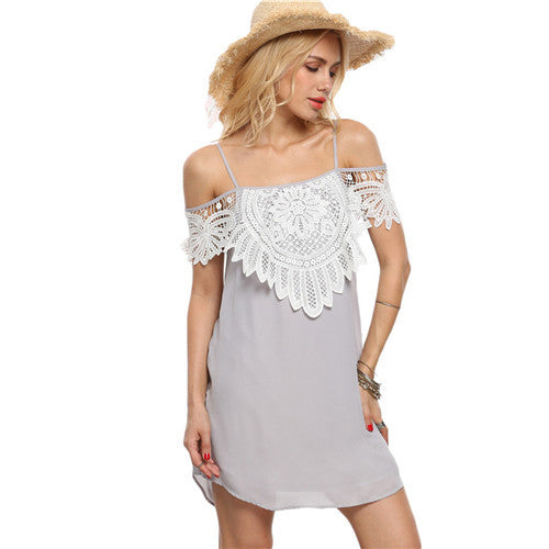 Shift Dresses Beach Short Sleeve Appliques Grey Crochet Layered Cold Shoulder Short Slip Dress