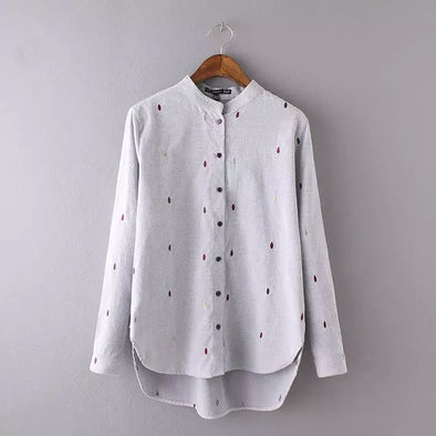 Style Office Raindrop Embroidery Gray Blouse Stand Collar Long Sleeve Work Wear - Hippie BLiss