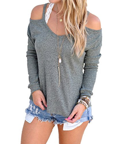Akery Women Sexy Off The Shoulder Tops Knitted Blouses Sweater