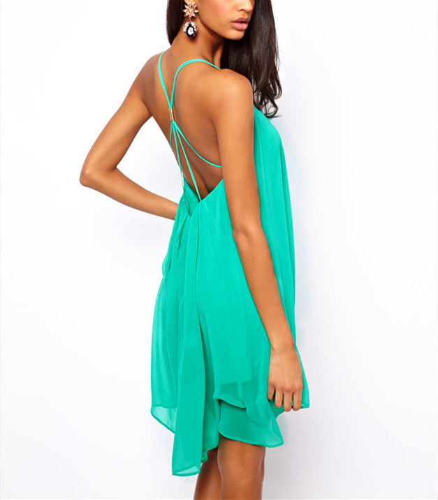 Backless Sling Strap Back Chiffon Beach Dress - Hippie BLiss