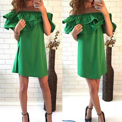 Women Off Shoulder Ruffle Summer Dress