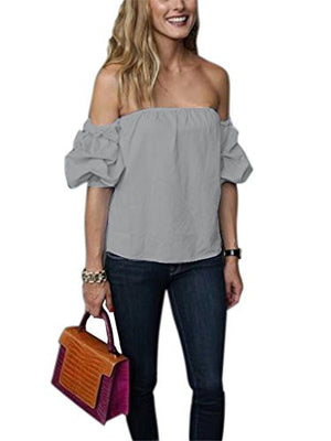 Women's Off The Shoulder Ruffle Blouse Tops Shirt