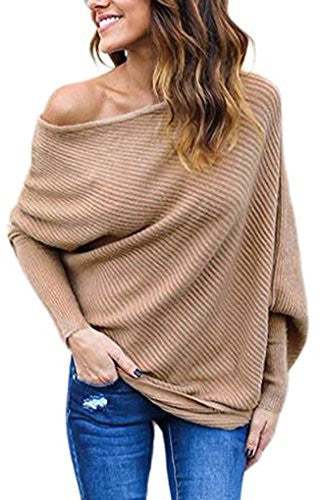 Women's Off Shoulder Loose Pullover Sweater Knit Jumper