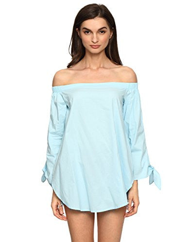 ROMWE Women's Off The Shoulder Knotted Long Sleeve Loose Blouse - Hippie BLiss
