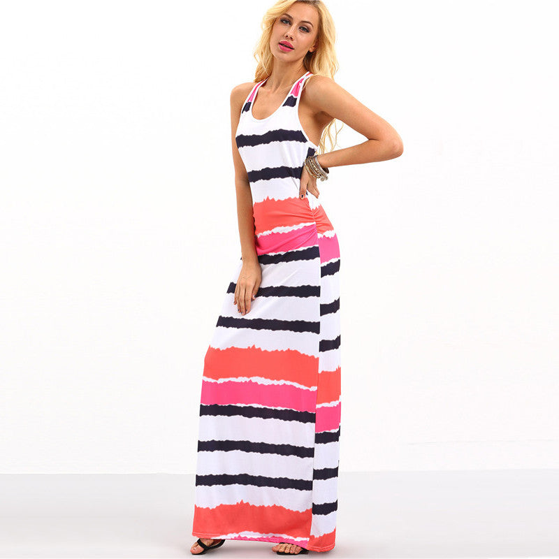 Summer Maxi Dresses Casual Ladies Multicolor Round Neck Sleeveless Tie Dye Striped Maxi Tank Dress