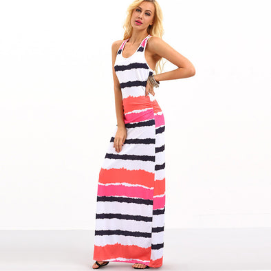 d98bb2f5c0 Summer Maxi Dresses Casual Ladies Multicolor Round Neck Sleeveless Tie Dye  Striped Maxi Tank Dress