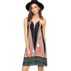Multicolor Lace-up String Slip Shift Dresses Ladies Summer Beach Spaghetti Strap With Tassel Short Dress - Hippie BLiss