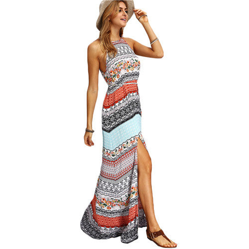 Sleeveless Dresses Summer New Beach Casual Multicolor Vintage Print A Line Split Maxi Dress