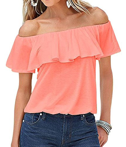 ICOOLTECH Women's Off Shoulder Boho Shirt Loose Blouses Casual Crop Tops - Hippie BLiss