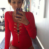 Deep V Neck Lace Up Bodysuit - Hippie BLiss