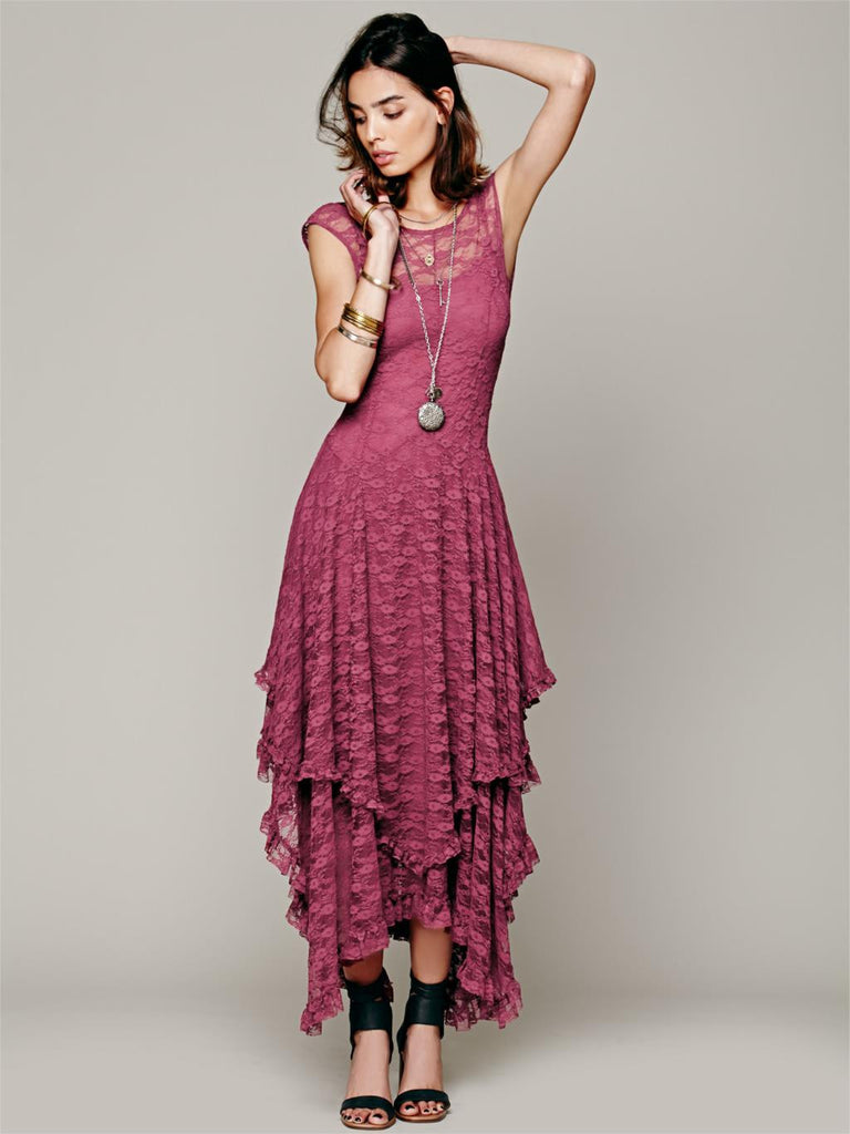 Boho Chic Bohemian Fashion hippie Style Asymmetrical Embroidery Sheer lace dresses - Hippie BLiss
